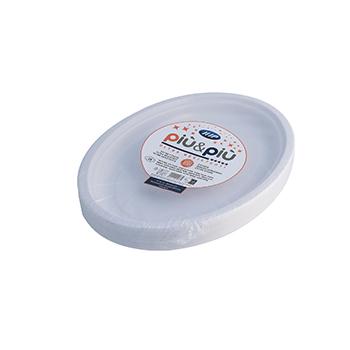 70174 25 pz piatti piani ovali diam. 260 mm 16 g PP bianco
