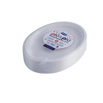 70175 50 pz piatti piani ovali 260x190x25 mm 16 g PP bianco