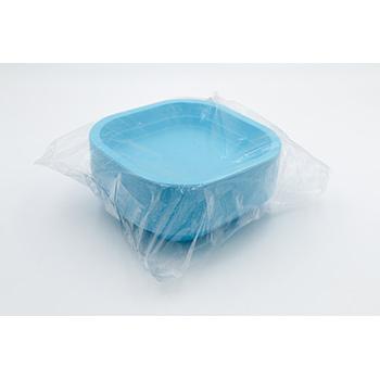 70981 50 pcs square deep plates 180x180x35 mm 13,5 g PP sky blue