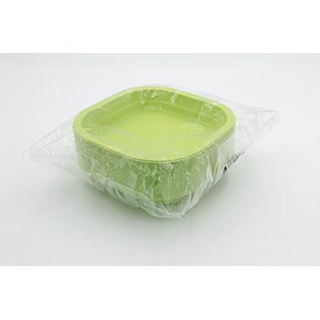 70991 50 pz piatti fondi quadrati 180x180x35 mm 13,5 g PPC verde