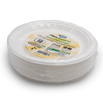 71187 50 pzs platos llanos diam. 220 mm 14 g PULP blanco