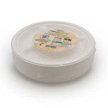 71201 50 pzs platos 3 comp. diam. 26 cm 20 g PULP blanco