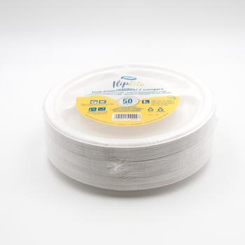 71202 50 pzs platos 3 comp. diam. 23 cm 15 g PULP blanco