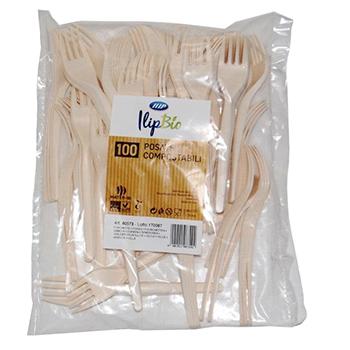 80573 100 pcs fourchettes 166 mm 4,3 g MATER-BI blanc