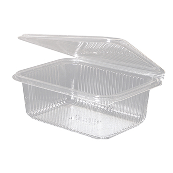 30015 50 pcs deli-food hinged lid containers 188x143x67 mm 1000 ml 25 g PLA transparent