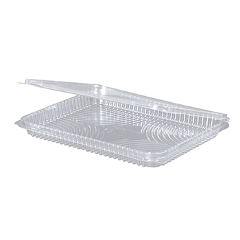 30091 25 pcs deli-food hinged lid containers 217x167x21 mm 570 ml 20 g RPET transparent a