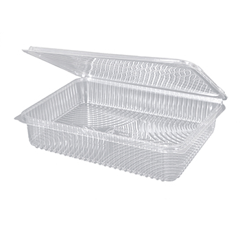 30093 25 pcs deli-food hinged lid containers 217x167x35 mm 1000 ml 23,5 g RPET transparent a