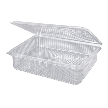 30095 25 pcs deli-food hinged lid containers 217x167x55 mm 1500 ml 28,4 g RPET transparent a