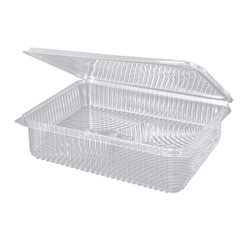 30096 25 pcs deli-food hinged lid containers 217x167x55 mm 1500 ml 28,5 g PLA transparent