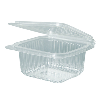 30118 50 pcs deli-food hinged lid containers 135x125x56 mm 500 ml 15,5 g PLA transparent
