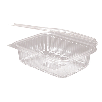 30119 50 pcs deli-food hinged lid containers 188x143x52 mm 750 ml 22 g PLA transparent