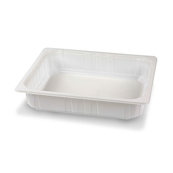 Singolo pezzo di 60 pz vassoi gastronomia termosaldabili 320x265x65 mm 4000 ml 75 g PP bianco