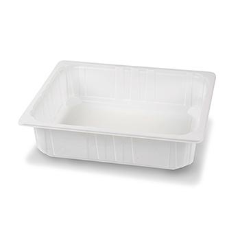 30424 58 pz vassoi gastronomia termosaldabili 320x265x80 mm 5000 ml 100 g PPC bianco 100g