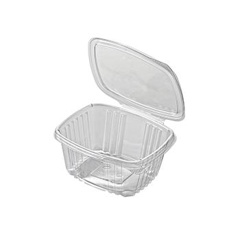 30591 50 pz vassoi gastronomia clamshell 150x124x55 mm 500 ml 14,3 g RPET trasparente a 14,300g