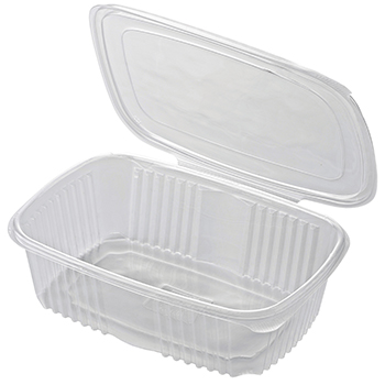 30615 50 pcs deli-food hinged lid containers 185x185x85 mm 2000 ml 32,31 g PP transparent