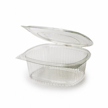 30581 50 pz vassoi gastronomia clamshell 184x158x66 mm 1000 ml 26 g RPET trasparente a