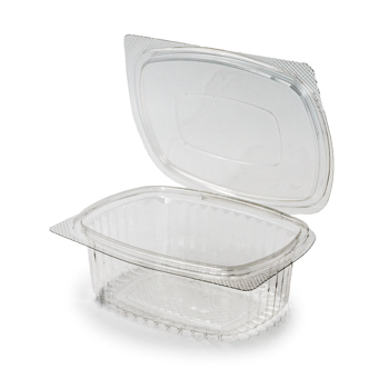 30592 50 pcs deli-food hinged lid containers 144x115x50 mm 375 ml 11,7 g RPET transparent a