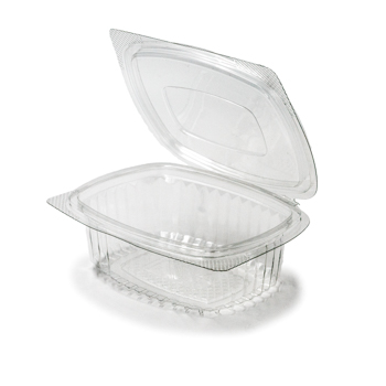 30593 50 pcs deli-food hinged lid containers 133x105,5x43 mm 250 ml 10 g RPET transparent a