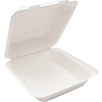 30672 50 pz vassoi gastronomia clamshell 220x203x76 mm 1000 ml 37 g PULP bianco
