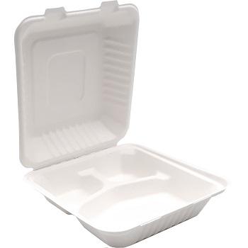 30673 50 pz vassoi gastronomia clamshell 220x203x76 mm 1000 ml 37 g PULP bianco