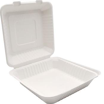 30674 50 pz vassoi gastronomia clamshell 228x228x76 mm 1200 ml 42 g PULP bianco