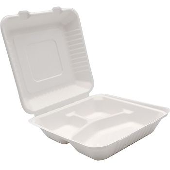30675 50 pz vassoi gastronomia clamshell 228x228x76 mm 1200 ml 42 g PULP bianco