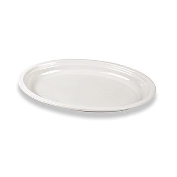 70175 50 pcs oval flat plates 260x190x22 mm 16 g PP white
