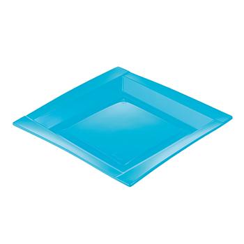 71106 20 pz piatti piani quadrati 208x208x18 mm 18 g PS azzurro