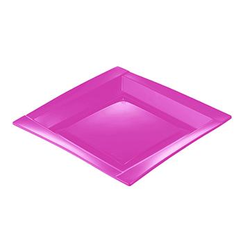 71107 20 pz piatti piani quadrati 208x208x18 mm 18 g PS rosa