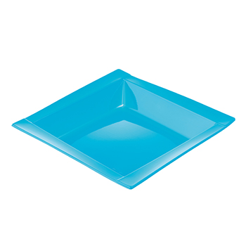 71111 20 pz piatti fondi quadrati 208x208x33 mm 18 g PS azzurro