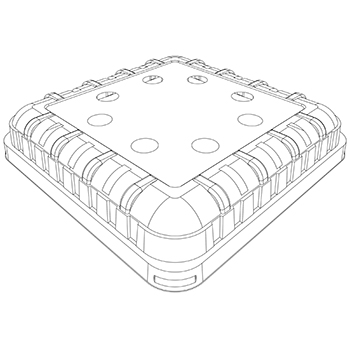 20408 coperchi per cestini CF29 186x186x28 mm non codificato RPET trasparente a 14g