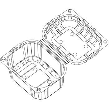 21798 cestini clamshell SET B32 124x95x76 mm 250 gr RPET trasparente a 10g