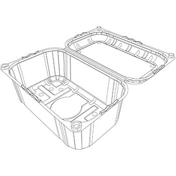 21961 cestini clamshell SET B33 185x114x56 mm 250 gr RPET trasparente a 16g