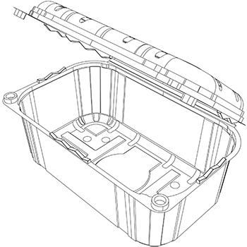 22618 cestini clamshell SET B33 185x114x80 mm 500 gr RPET trasparente a 16g