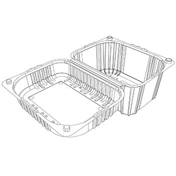 22073 cestini clamshell SET B36 185x145x107 mm 1000 gr RPET trasparente a 28g