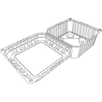22402 cestini clamshell SET B29 186x186x94 mm 1000 gr RPET trasparente a 34g