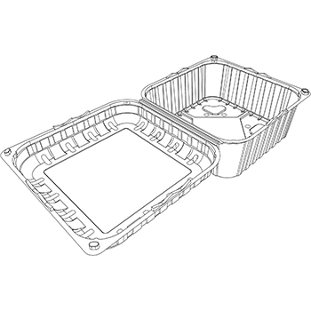 22054 cestini clamshell SET B29 186x186x130 mm 1500 gr RPET trasparente a 48g