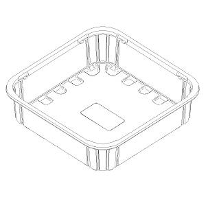 22863 cestini con assorbente B46 173,5x173,5x40 mm nc RPET trasparente a 18g