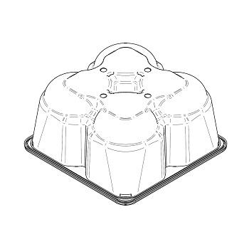 22599 coperchi per cestini CF52 184x184x92 mm non codificato RPET trasparente a 22,200g